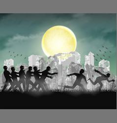 human running from zombie at night ruined city vector image