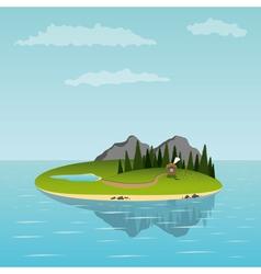 island in sea vector image