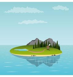 island in the sea vector image
