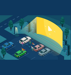 Isometric drive cinema car open air movie theater vector