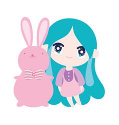 kids cute little girl anime cartoon bunny with vector image