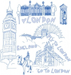 london doodles vector image