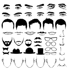 Man face eyes and noses mustaches with glasses vector image