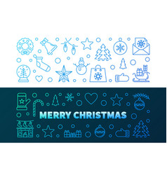 Merry christmas colorful line banners xmas vector