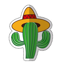 mexican cactus with hat isolated icon vector image