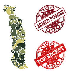 Military camouflage collage of map of togo and vector