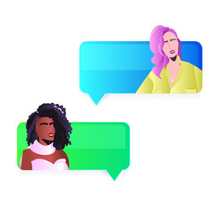 mix race girls discussing in chat bubbles womens vector image