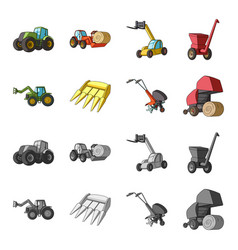 motoblock and other agricultural devices vector image