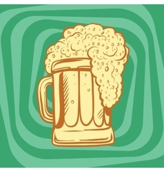 Mug of foamy beer vector