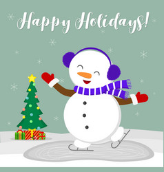 new year and christmas card cute snowman in fur vector image