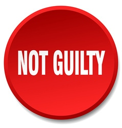 not guilty red round flat isolated push button vector image