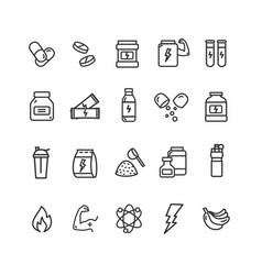 Nutrition signs black thin line icon set vector