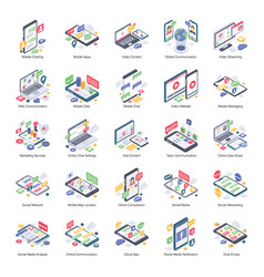 online communication isometric icons pack vector image