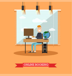 online hotel booking in flat vector image