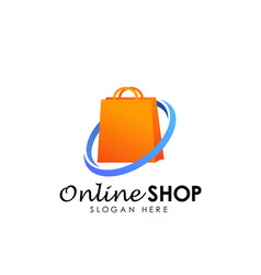 Online shop logo design icon shopping bag logo vector