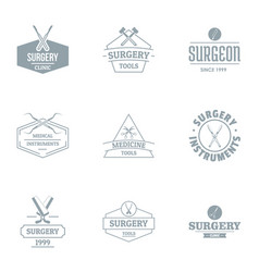 operating theatre logo set simple style vector image