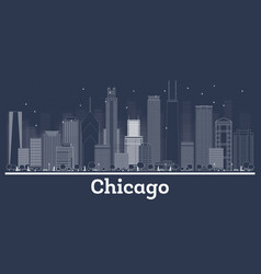 Outline chicago illinois city skyline with white vector