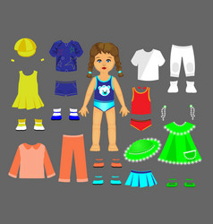 Paper doll clothes and set for play and creativity vector