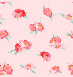 peony flowers seamless vintage summer pattern vector image