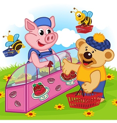pig seller of cakes vector image