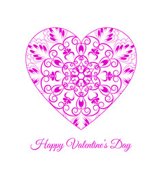 pink fretwork floral heart happy vector image