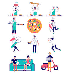 pizza making flat style design vector image