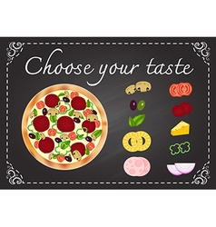 pizza with ingredients on chalkboard vector image