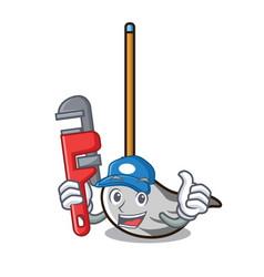 Plumber mop mascot cartoon style vector