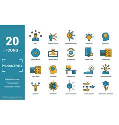 Productivity icon set include creative elements vector