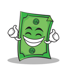 Proud face dollar character cartoon style vector