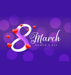 Purple 8th march happy womens day banner design vector