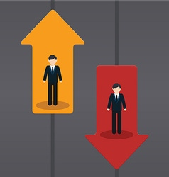 Raise and fall business indicators career lift vector