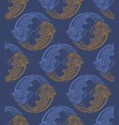 repaint seamless pattern fish vector image