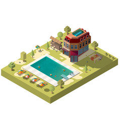 Resort hotel with swimming pool isometric vector