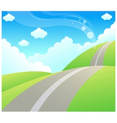 Road over Green mountain and sky vector