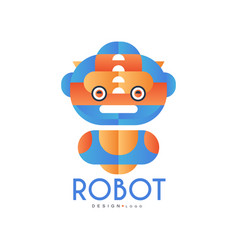 robot logo design badge for company identity vector image