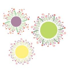 Round floral frames set vector image vector image
