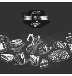 Seamless boarder with coffee and sweets vector
