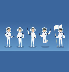 set cartoon astronauts vector image