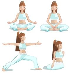set girl yoga pose vector image
