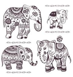set hand drawn ethnic elephants vector image