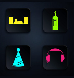 set headphones home stereo with two speakers vector image