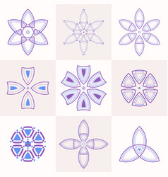 set of 9 symmetric geometric shapes vector image