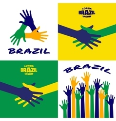 Set of colorful hands icons Brazil vector