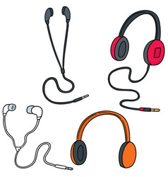 set of headphone and earpiece vector image