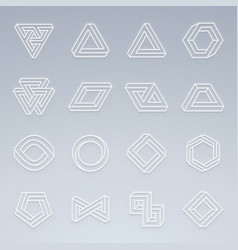 set of impossible shapes shapes with glow effect vector image