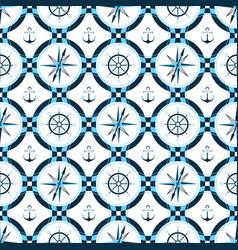 ship anchor steering wheel compass design of vector image