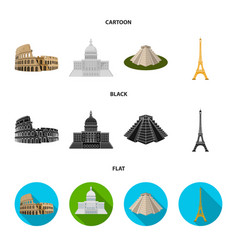 Sights of different countries cartoonblackflat vector
