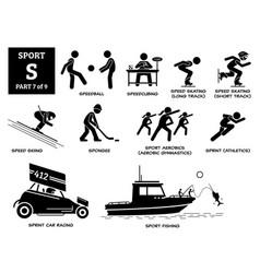 Sport games alphabet s icons pictograph speedball vector