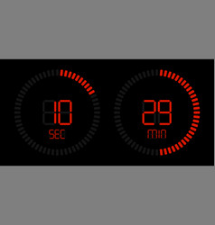 stopwatch timer digital red countdown vector image